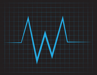 EKG grid with blue lines