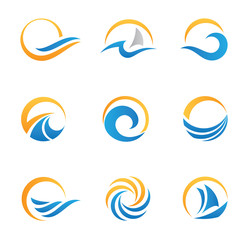 Sun and sea symbol and icons