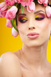 beauty woman portrait with wreath from flowers on head yellow  b