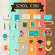 School and education sticker icons set.