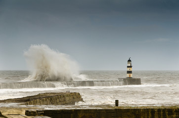 Crashing waves over Seaham Harbour