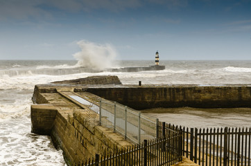 Seaham Harbour in rough seas