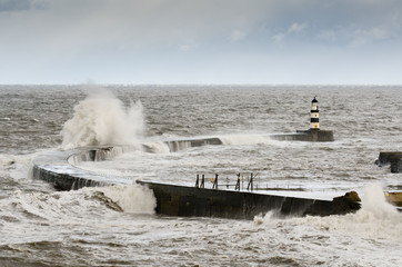 Seaham Harbour with crashing waves