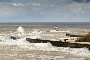 Waves crash into Seaham Harbour north pier