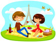 couple having romantic picnic in paris