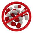 Таблетки под запретом. Запрещающий знак. Изолированно