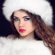 Fur Fashion. Beautiful Girl in Furry Hat. Winter Woman Portrait