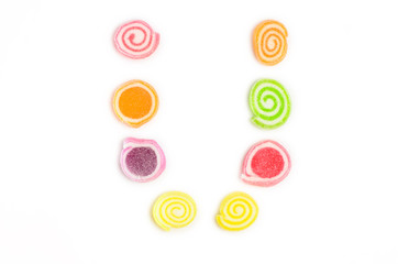 alphabet U from jelly