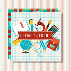 School and education background with sticky papers.