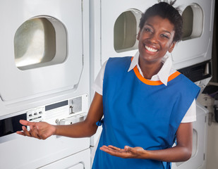 Female Helper Welcoming In Laundry