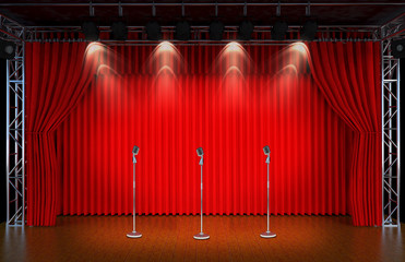 vintage microphone on Theater stage with red curtains and spotli