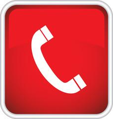 Иконка, красный значок с телефонной трубкой