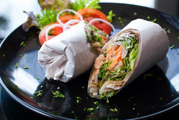 Salmon wrap with roti dough