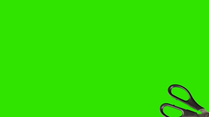 Scissors animated on a green screen background