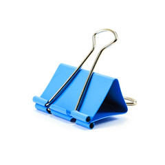 Blue paper clip on white background