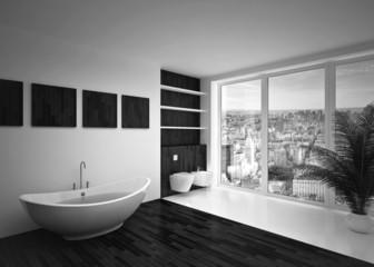 Modern interior of bathroom B&W