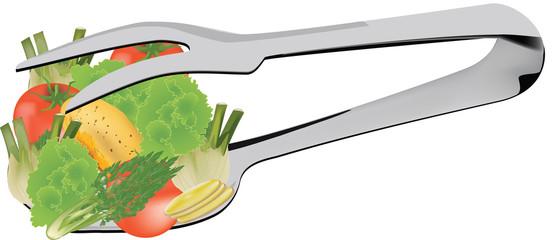 cucchiaio forchetta con verdura