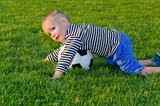Small boy playing soccer