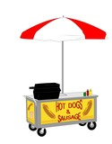 retro hot dog street vendor cart