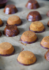 Laddu indian chickpea flour cookies with carob and chocolate