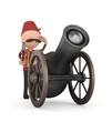 3d human with ramadan cannon -isolated
