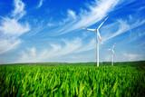 Fototapety Wind energy turbines on the field