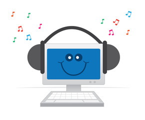 Happy computer listening to music with headphones