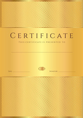 Gold Certificate / Diploma template (background). Line pattern