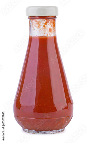 Glass bottle with tomato ketchup