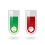 Chemical test tubes positive and negative emoticons