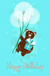 Greeting card for Birthday with bear and dandelions