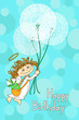 Greeting card for Birthday with Angel and dandelions