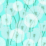 Seamless pattern of dandelions