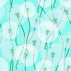 Seamless pattern of dandelions