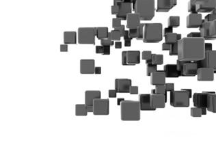 Black metallic cubes flying