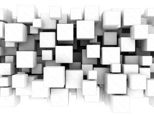 Abstract white 3d cubes