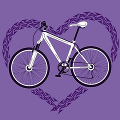 Background with bicycle and heart made of tire track