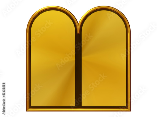 blank golden panels for Ten Commandments