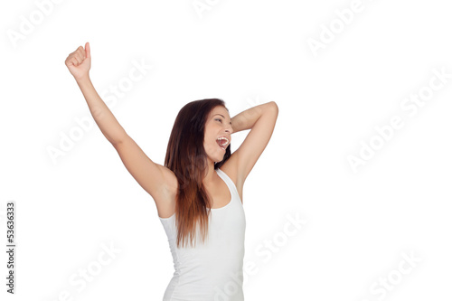 Brunette girl yawning and stretching morning