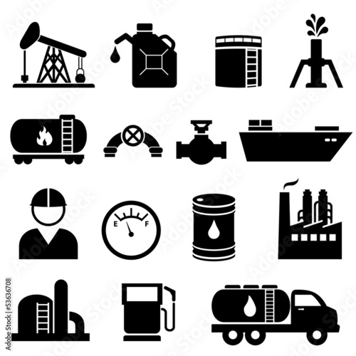 Oil and petroleum icon set