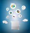 online network settings illustration design