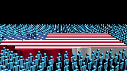 Washington map flag with many abstract people animation
