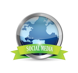 social media metallic seal illustration