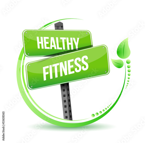 healthy and fitness street sign illustration