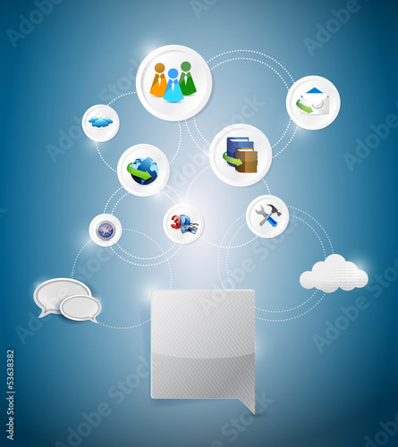 online network settings illustration design