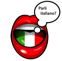 mouth speaking in italian with bubble