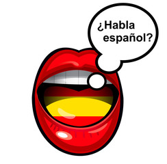 mouth speaking in spanish with bubble