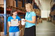 Businesswoman And Female Worker In Distribution Warehouse