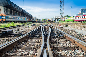 Railway on station with blue sky and train, Travel in Thailand