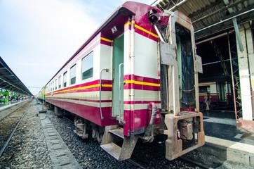Behind vintage train prepare to go to travel, thailand